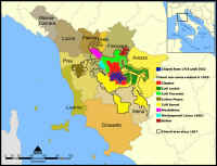 Map of the Chianti wine zones within Tuscany