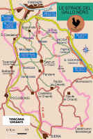 Map of the Chianti Classico wine zone